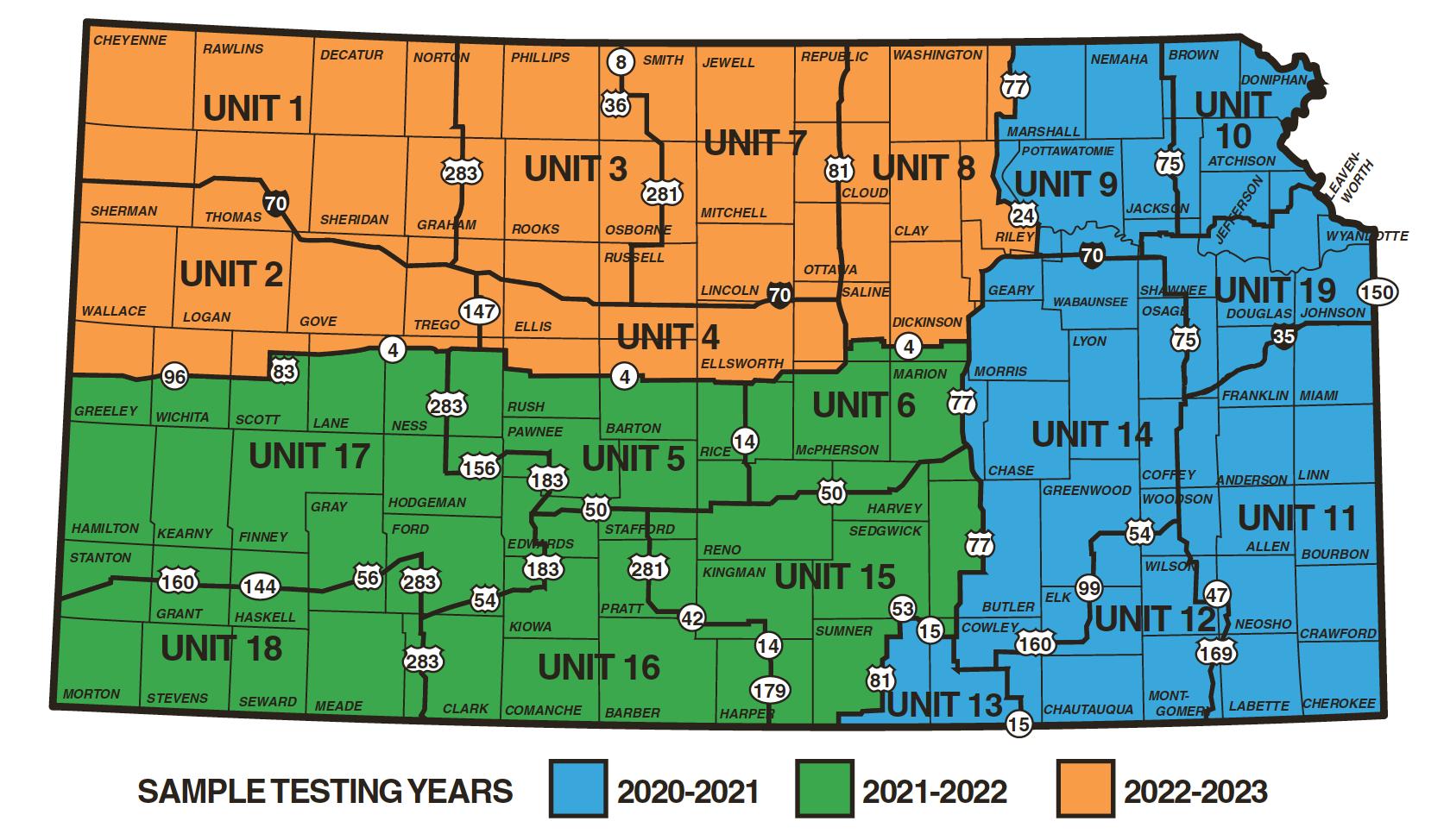 Kansas CWD Sampling Map