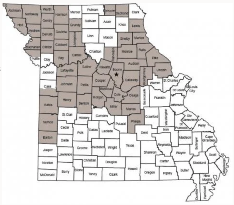 Counties with a 4 antler point minimum
