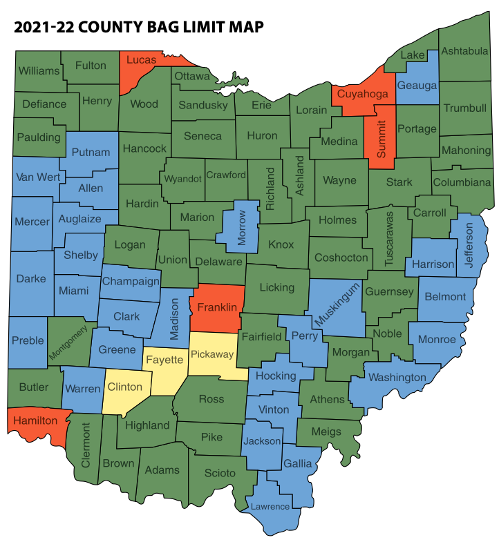 2021-22 COUNTY BAG LIMIT MAP