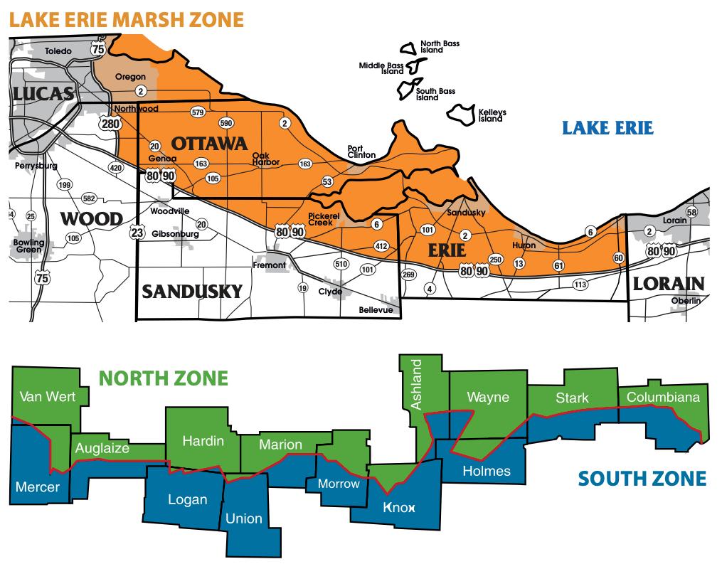 LAKE ERIE MARSH ZONE, NORTH ZONE, SOUTH ZONE