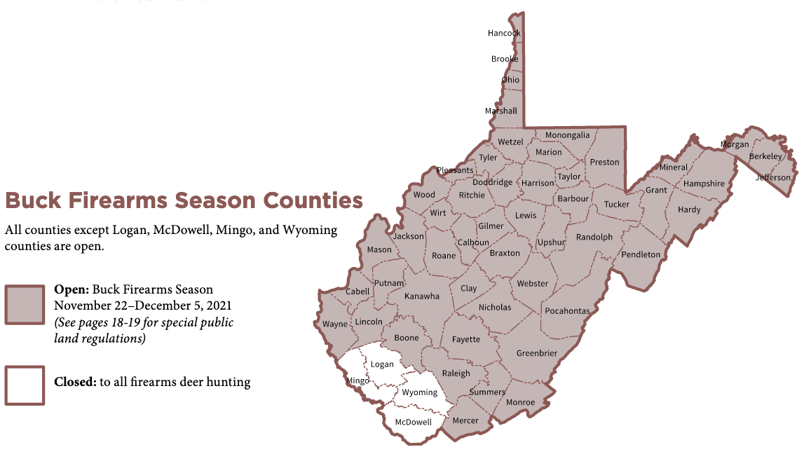 Buck Firearms Season Counties